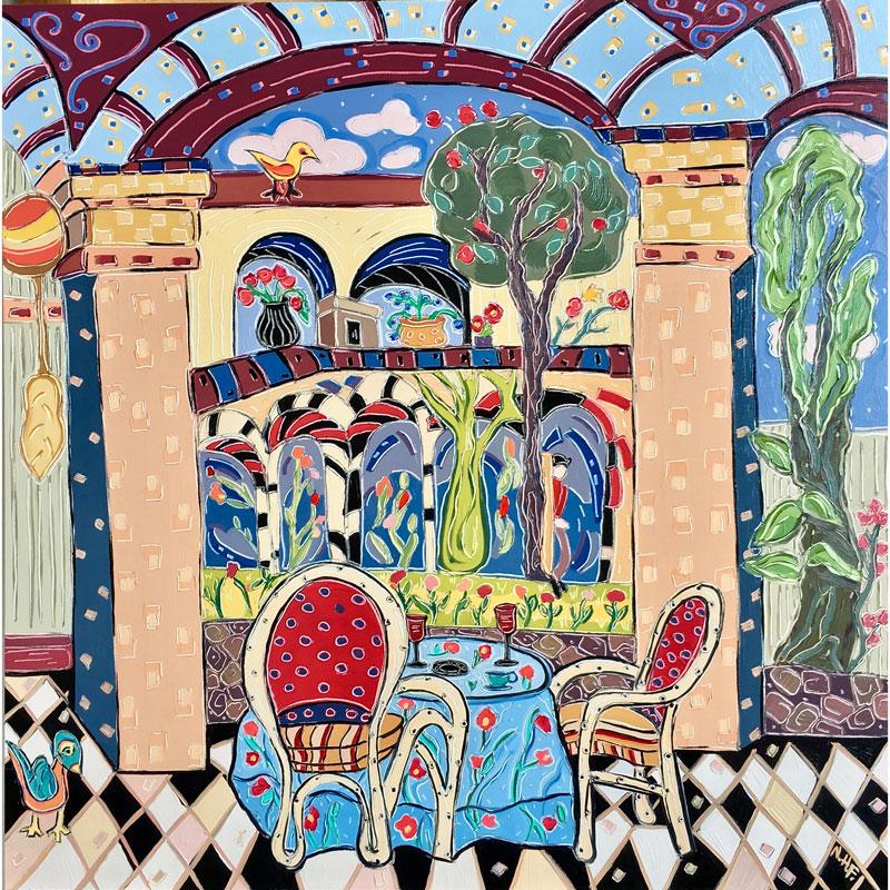 Lunch in the Courtyard by Nan Hass Feldman