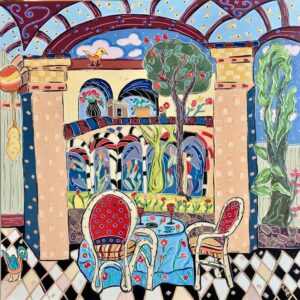Lunch in the Courtyard painting by Nan Hass Feldman