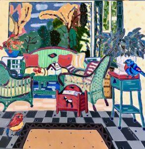 Jodi and Sam Gaze at the Birdhouse painting by Nan Hass Feldman