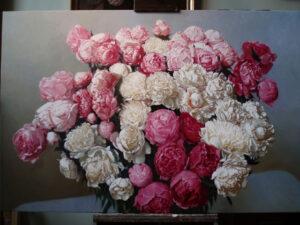 Pink peonies by Yoshi Mizutani