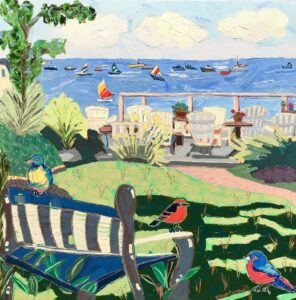 Becky, Zoe, and Abigail Visit Provincetown painting by Nan Hass Feldman