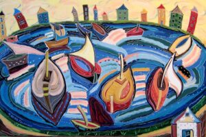 The Boats Come to Yellow Sky painting by Nan Hass Feldman