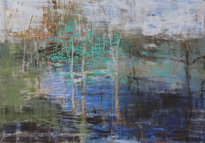 Birch Grove oil pastel by Robert Baart